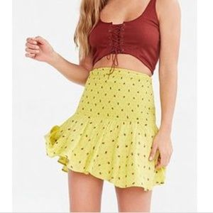 Urban Outfitters Yellow scrunchi mini skirt